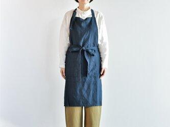 TE-004 [日本製品染め]リネン プルオーバーエプロンロング(プレーンネイビー)teintの画像