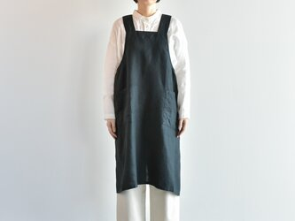 TE-004 [日本製品染め]リネン プルオーバーエプロンロング(プレーンブラック)teintの画像