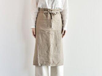 TE-011 [日本製品染め]リネン ギャルソンエプロン(シナモン)teintの画像
