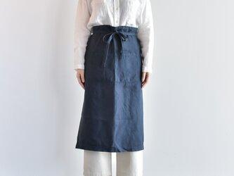 TE-011 [日本製品染め]リネン ギャルソンエプロン(ネイビー)teintの画像