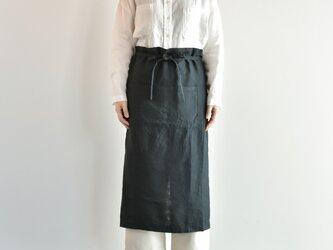 TE-011 [日本製品染め]リネン ギャルソンエプロン(ブラック)teintの画像