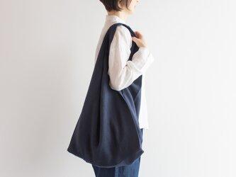 TE-012S [日本製品染め]リネン マルシェバッグ(ストライプネイビー)teintの画像