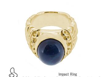 真鍮版Impact Ring(アパタイト)8~30号対応 男女クール&大きな天然石・デザインの指環 小指ピンキーにも!の画像