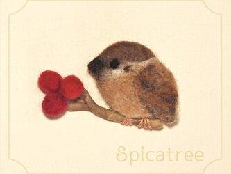 *受注制作*「赤い実とすずめ」羊毛ブローチの画像