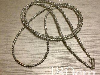 4mm ナバホパールデザインネックレス シルバー&ゴールド 180cmの画像