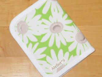 二つ折りパスケース★マーガレット柄(グリーン)の画像