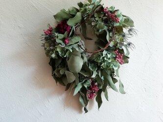 wreath-紫陽花と芍薬の画像