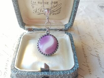 ヴィンテージ White-Moon・Leaf/Dull purple ネックレスの画像