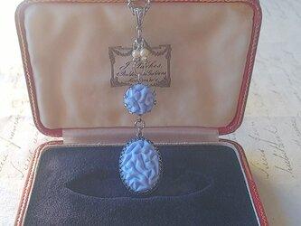 ヴィンテージ 水色アールデコflower/Glassパール ネックレスの画像