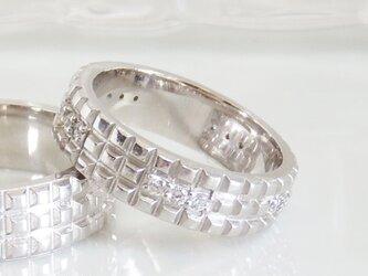 石畳幅広シルバーリング ダイヤモンド入り(プラチナコーティング)[受注生産制]の画像