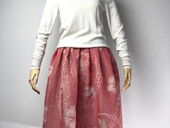 【着物リメイク】タック&ギャザースカート/赤×白チェックにグレー花の画像