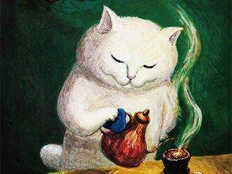 カマノレイコ オリジナル猫ポストカード「アロマ」2枚セットの画像