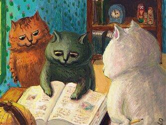 カマノレイコ オリジナル猫ポストカード「しらべもの」2枚セットの画像