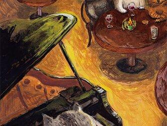 カマノレイコ オリジナル猫ポストカード「ピアノとワイン」2枚セットの画像