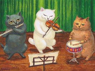 カマノレイコ オリジナル猫ポストカード「音楽会」2枚セットの画像