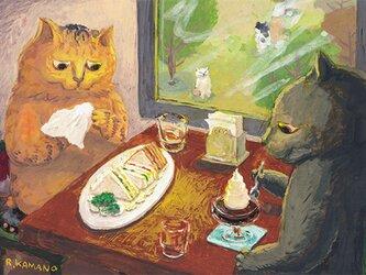 カマノレイコ オリジナル猫ポストカード「喫茶店」2枚セットの画像