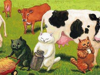 カマノレイコ オリジナル猫ポストカード「牧場」2枚セットの画像