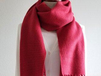 手織りのストール(ピンチェック・赤)の画像