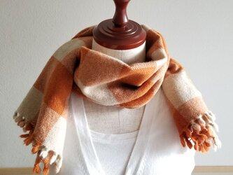 手織りのミニストール(ブロックチェック・オレンジ)の画像