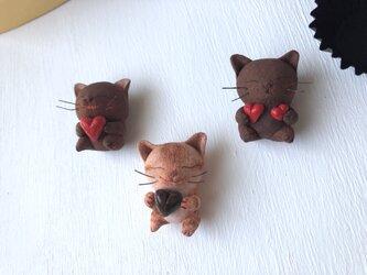 <再販>チョコレートみたいな猫さんトリオ(受注制作)の画像