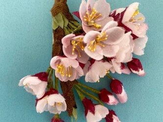 布花 枝付き桜のコサージュの画像
