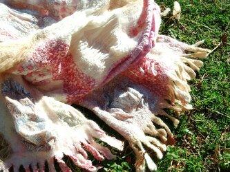 Pattiworkストール ピンクの花<インド綿ブロックプリント×羊毛フェルト>の画像