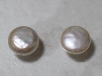 淡水パール バロック コイン 2粒 9~10mm 真珠 パーツ ルース 素材 干渉色の画像