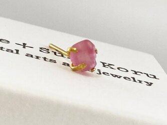 K24 Pure Gold+Raw Pink Spinel Stud◆K24純金◆桜色ピンクスピネルピアスⅡ 片方のみの画像