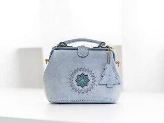 雪華 雪の結晶 がま口バッグ 手作りのレザーショルダーバッグレディース 総手縫いの画像