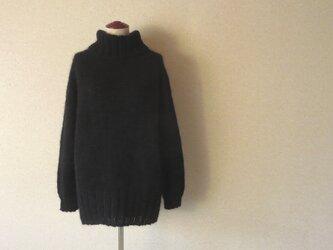 『受注生産』キッドモヘアのハイネックロングセーター オーバーシルエット ラムウール ブラック 黒の画像