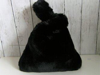¶ new antique fur ¶ エコバッグ型エコファーハンドバッグ◆ブラックの画像