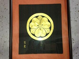家紋額装 丸に剣片喰(まるにけんかたばみ)の画像