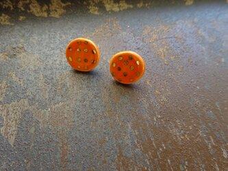 金彩dot round pierce/earring(橙色)の画像