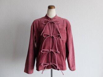 【シーズン限定】木間服装製作 / バンドカラージャケットコーデュロイ dark pink / unisexの画像