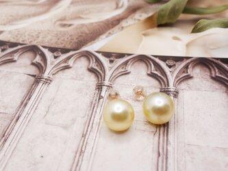 南洋白蝶真珠 ゴールデンパール 一粒ピアス の画像