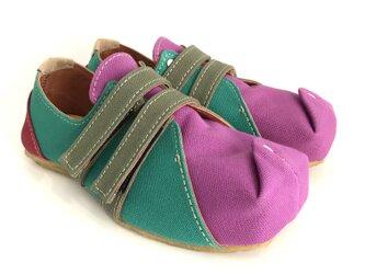 SQUARE velcro-sneakers #倉敷帆布 #受注製作 #天然素材の画像