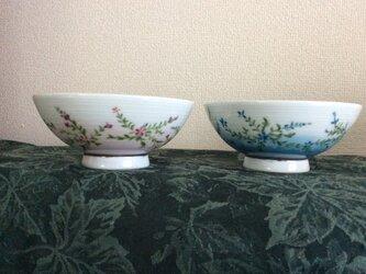 小花の夫婦茶碗の画像