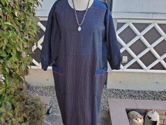 着物リメイク 手作り 縞いろいろ ワンピース(割烹着)  の画像
