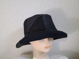 魅せる帽子☆ブラックデニムのリバーシブルクロッシュの画像
