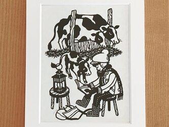 読書の切り絵「牛の本」の画像