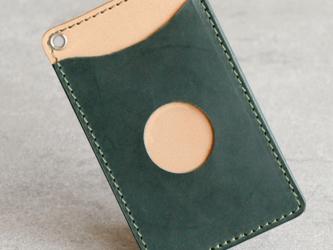 ステッチ色が選べる本革パスケース(グリーン)の画像