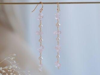 rose quartz earring:ローズクォーツ×パール 天然石ロングイヤリング・ピアスの画像