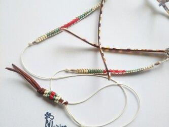 ネイティブカラーの3wayタッセルつき眼鏡ホルダー(#841)(受注製作)の画像