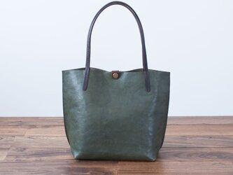 日本製牛革手縫いの小型トートバッグ  /  グリーンの画像