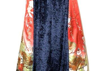 【現品1点のみ‼︎】HAJIME AYUMU 高級柄付着物リメイク&ベロアデザインフレアスカート 裏地フリース付きの画像