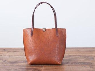 日本製牛革手縫いの小型トートバッグ  /  ライトブラウンの画像