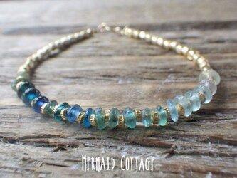 *14kgf*Sea Roman Glass Bracelet ☆アジャスターの画像