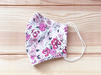 ★数量限定★ リバティ ピンク 花柄 綿100% ガーゼ 大人用 立体型 エコ 布マスクの画像