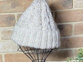 アランニット帽 ウールと草木染めモヘアの画像
