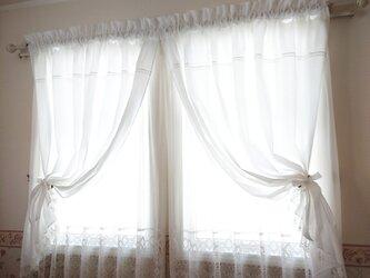 ホワイトコットン♪両開きカーテン♡リボンクリップ付きの画像
